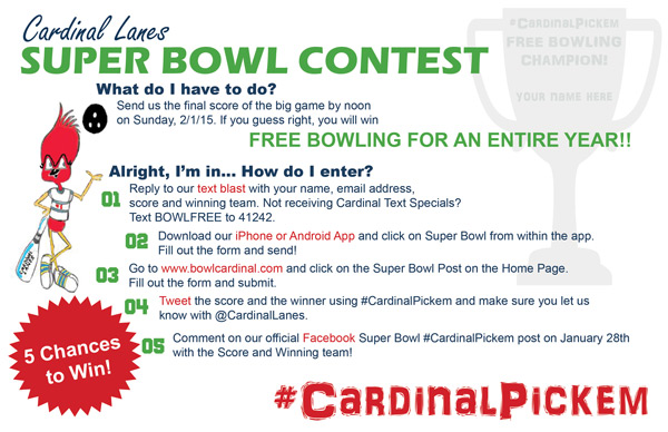 #CardinalPickem - Guess the Final Score of the Super Bowl and win FREE Bowling for an entire year!