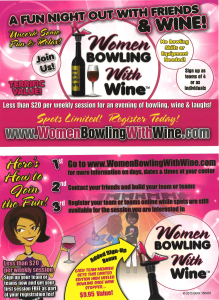 Women Bowling with Wine at Cardinal Lanes Shipyard Wilmington