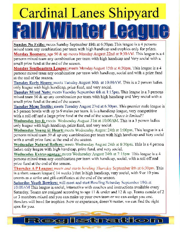 Cardinal Lanes Fall/Winter Bowling League Schedule