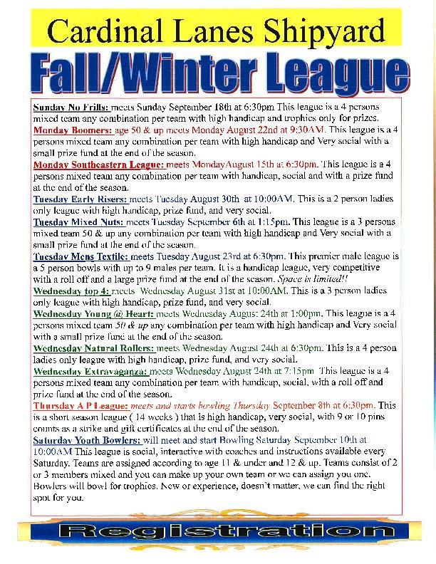 Cardinal Lanes Fall/Winter Bowling League Schedule